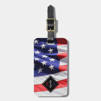 American Flag   Red White and Blue USA Monogram Luggage Tag