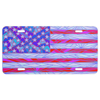American Flag Red White And Blue USA Patriotic License Plate