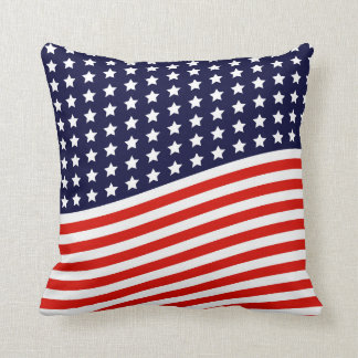 American Flag - Red, White and Blue USA Throw Pillow