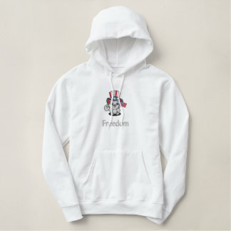 American Flag Red White Blue Cat Embroidered Hooded Sweatshirt