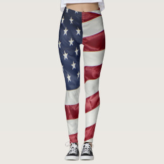 American flag red white & blue : stars & stripes leggings