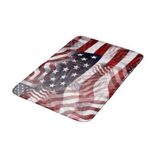 American Flag Red White Blue Stripes Stars Pattern Bath Mat