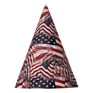American Flag Red White Blue Stripes Stars Pattern Party Hat
