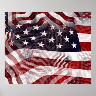 American Flag Red White Blue Stripes Stars Pattern Poster