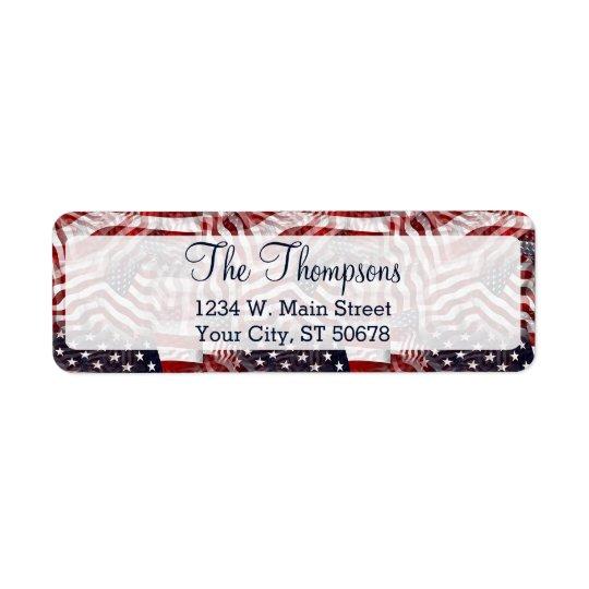 American Flag Red White Blue Stripes Stars Pattern Return Address Label