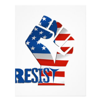 American Flag Resist Raised Fist Letterhead