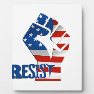 American Flag Resist Raised Fist Plaque