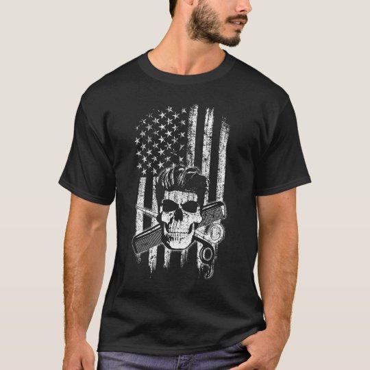 American Flag Retro Barber T-Shirt