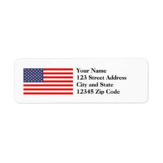 American flag return address labels