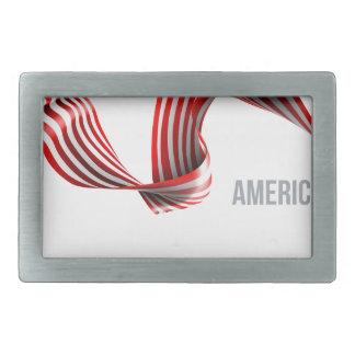 American Flag Ribbon Design Belt Buckle
