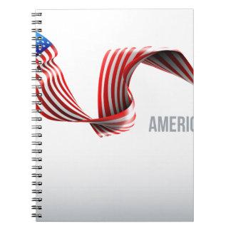 American Flag Ribbon Design Notebook