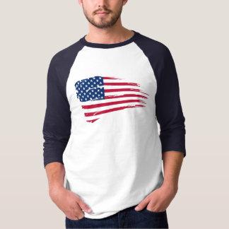 American Flag Rip Basic 3/4 Sleeve Raglan T-Shirt