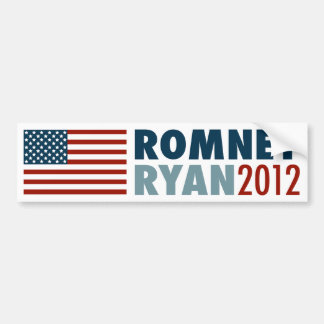American Flag Romney-Ryan 2012 Bumper Sticker