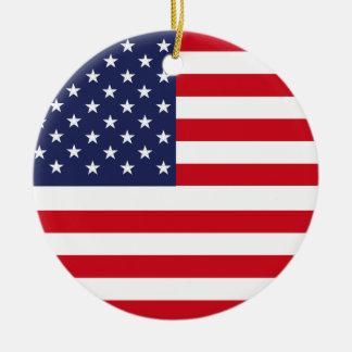 American flag round ceramic ornament