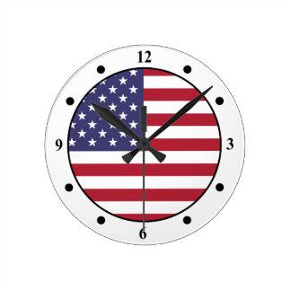 American Flag Round Clock