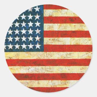 American Flag Round Sticker