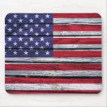 American Flag Rustic Wood Mouse Pad