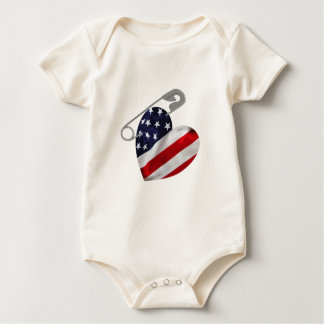 American Flag Safety Pin Baby Bodysuit