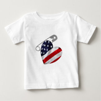 American Flag Safety Pin Baby T-Shirt