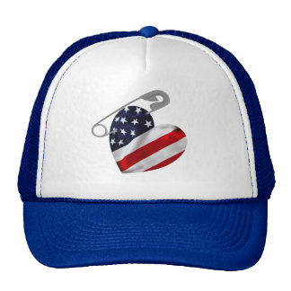 American Flag Safety Pin Trucker Hat