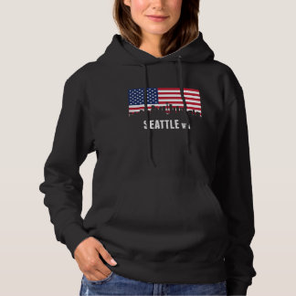 American Flag Seattle Skyline Hoodie