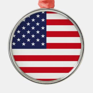 American flag Silver-Colored round ornament
