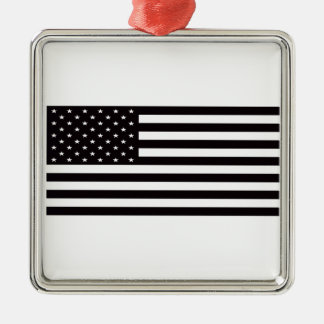 american flag Silver-Colored square ornament