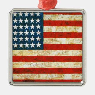 American Flag Silver-Colored Square Ornament