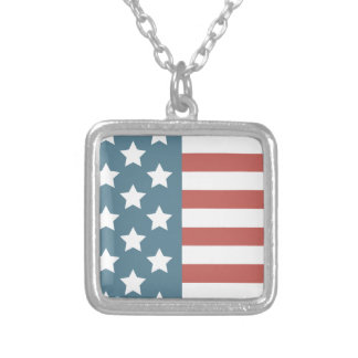 American Flag Silver Plated Necklace