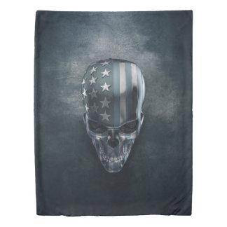 American Flag Skull (1 side) Twin Duvet Cover