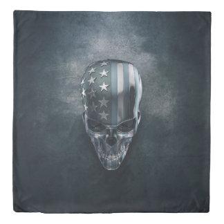 American Flag Skull (2 sides) Queen Duvet Cover