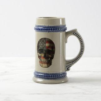 American flag skull beer stein