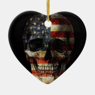 American flag skull ceramic heart ornament