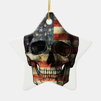 American flag skull ceramic star ornament