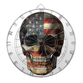 American flag skull dartboard