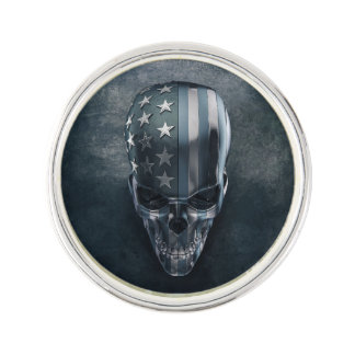 American Flag Skull Lapel Pin