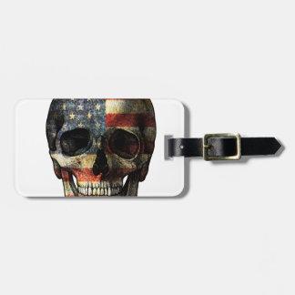 American flag skull luggage tag