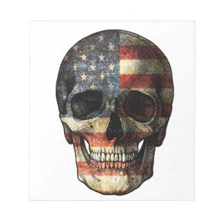 American flag skull notepad