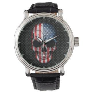 American Flag Skull on Steel Mesh Graphic Watch