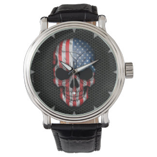 American Flag Skull on Steel Mesh Graphic Wristwatch