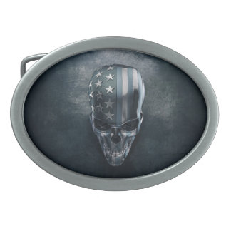American Flag Skull Oval Belt Buckle