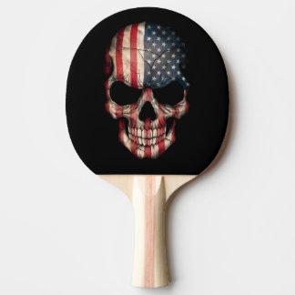 American Flag Skull Ping Pong Paddle