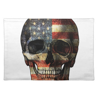 American flag skull placemat