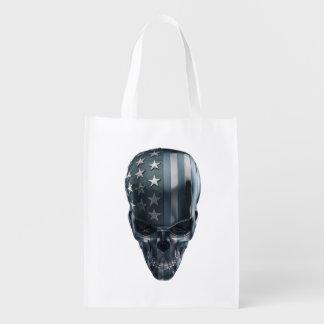 American Flag Skull Reusable Grocery Bag