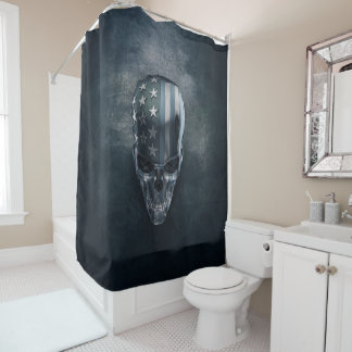 American Flag Skull Shower Curtain