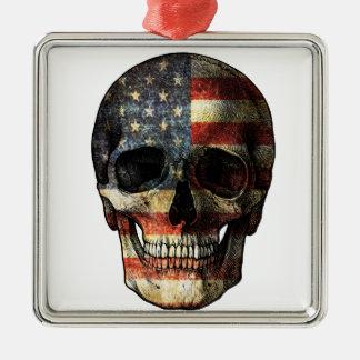 American flag skull Silver-Colored square ornament