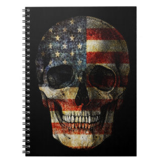 American flag skull spiral notebook