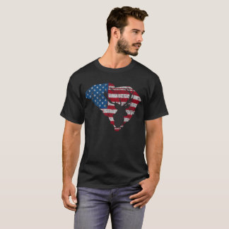 American Flag South Carolina Deer Hunting Distress T-Shirt