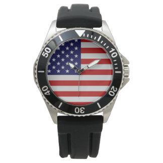American Flag Stainless Steel Bracelet Watch