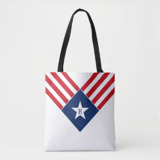 American Flag Star and Stripes Patriotic Monogram Tote Bag